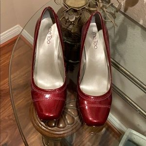 Me Too burgundy patient leather wedges